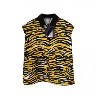 Prada Black & Yellow Tiger Print Sleeveless Shirt