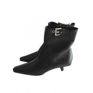 Prada Black Leather Kitten Heel Ankle Boots