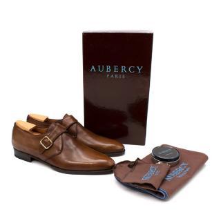 Aubercy Neal Hazelnut Leather Double Buckle Monk Strap Shoes