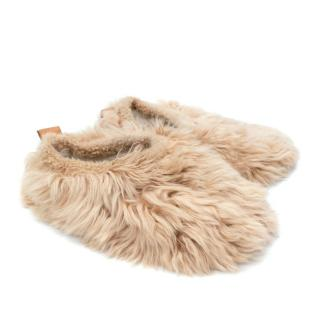 Baboosha Almond Satin Low Rider Alpaca Fur Slippers