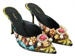 Dolce & Gabbana FLoral Print Crystal Faux Pearl Embellished Mules
