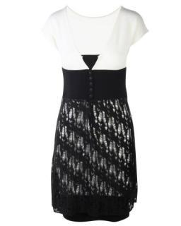 Chanel Black & White Distressed Knit Detail Dress