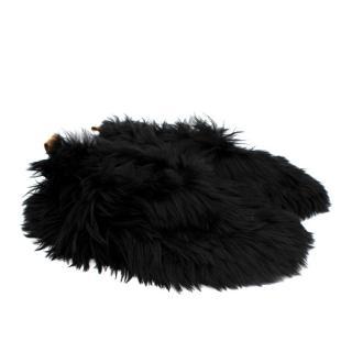 Baboosha Black Satin Low Rider Alpaca Fur Slippers