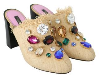 Dolce & Gabbana raffia crystal embellished mules