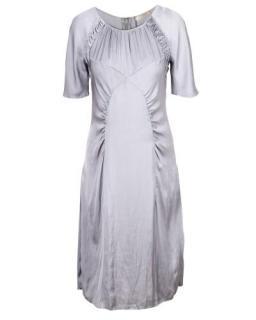 Nina Ricci Grey Ruched Satin Dress