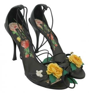 Dolce & Gabbana Floral applique Lace-Up Sandals