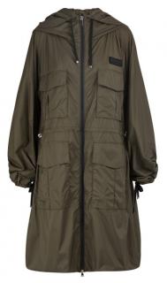 Moncler Khaki Nylon Satin Newdelhi Hooded Coat