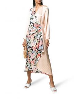 Rixo Betty Printed Satin Peach Wrap Midi Dress