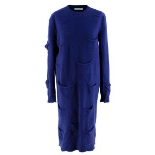 JW Anderson Navy Cashmere Blend Pockets Knitted Dress