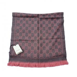 Gucci Pink Monogram GG Wool Scarf