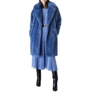 Marella Blue Faux Shearling Double Breasted Coat