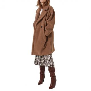 Marella Wool Blend Double Breasted Camel Teddy Coat