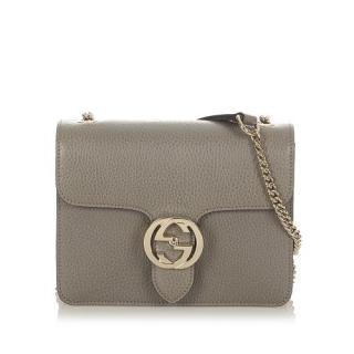 Gucci Interlocking G Grey Leather Shoulder Bag