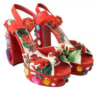 Dolce & Gabbana Crystal Embellished Floral Print Platform Sandals