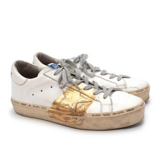 Golden Goose Hi Star White & Gold Leather Sneakers