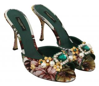 Dolce & Gabbana Crystal Embellished Floral Mules