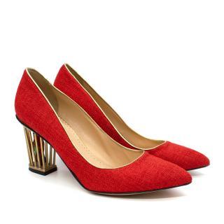 Charlotte Olympia Graca Red Tweed Cage Heel Pumps