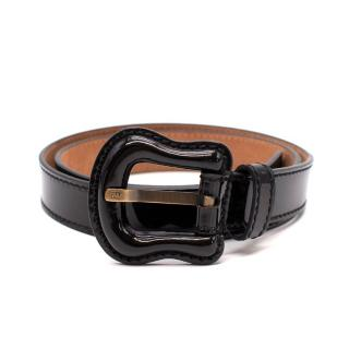 Fendi Black Patent Leather B Buckle Belt