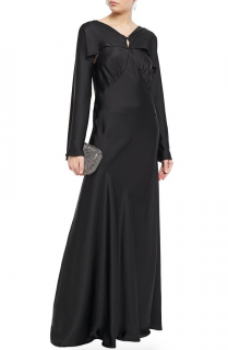 Paco Rabanne Woman Open-back Layered Satin Gown