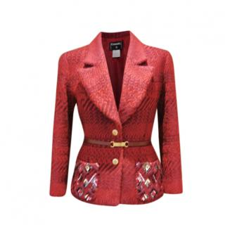 Chanel Red Wool Vintage Belted Tailored Jacket