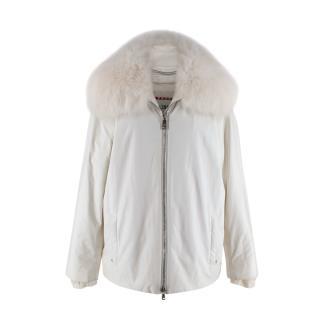 Prada Sport Fox Fur Gore-Tex White Winter Jacket