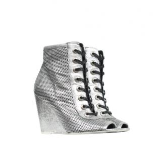 Chanel Perforated Lace-Up Wedge Boots
