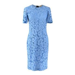 Burberry Pale Blue Guipure Lace Midi Dress