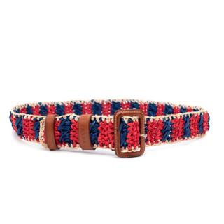 Prada Red & Navy Woven Raffia Belt