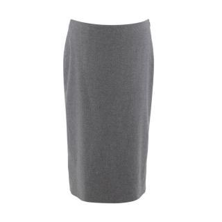 Alexander McQueen Grey Wool-Blend Pencil Skirt