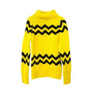 Joseph Yellow & Black Intarsia Chunky Knit Rollneck Jumper