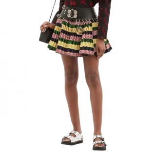 Chopova Lowena Leather-belt striped wool-jacquard skirt