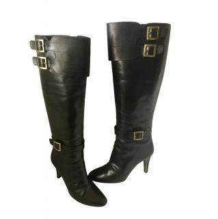 Jimmy Choo Black Leather Buckle Detail Long Boots