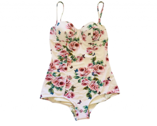 Dolce & Gabbana Blush Rose Print Balconette Swimsuit