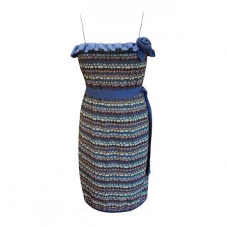 M Missoni Purple Crochet Knit Sleeveless Dress