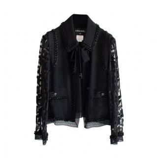 Chanel Black Lace & Tweed Embellished Paris/Miami Jacket