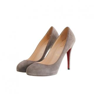 Christian Louboutin Taupe Suede Pumps