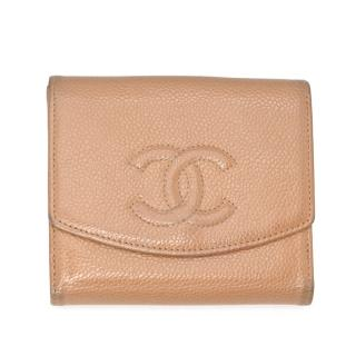 Chanel Beige Caviar Leather CC Embroidered Flap Wallet