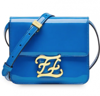 Fendi Blue Patent Leather Karligraphy Bag