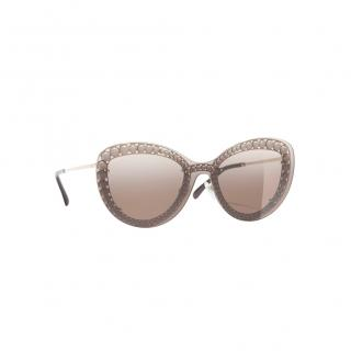 Chanel Faux Pearl Trim Butterfly Sunglasses