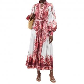 Zimmermann White & Burgundy/Pink Wavelength Midi Dress