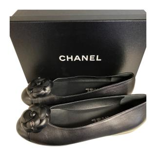Chanel Black Camellia Flower Leather Ballerinas