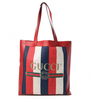 Gucci Leather Trimmed Canvas Sylvie Tote Bag