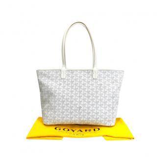Goyard White Goyardine Artois PM Tote Bag