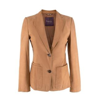 Asprey Tan Leather Single-Breasted Blazer