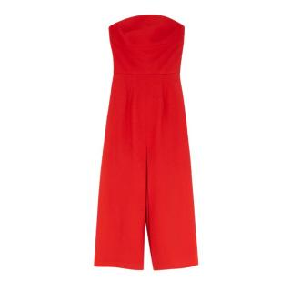 Giulietta Red Crepe Wide Leg Pleated Jumpsuit