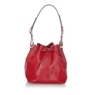Louis Vuitton Red Epi Leather Petit Noe Tote Bag