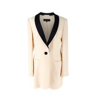 Escada Vintage Cream & Black Silk Tuxedo Blazer