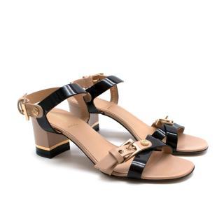 Baldinini Neutral & Black Leather Block Heel Strappy Sandals