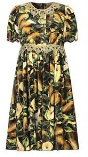 Dolce & Gabbana Velvet Pear Print Dress