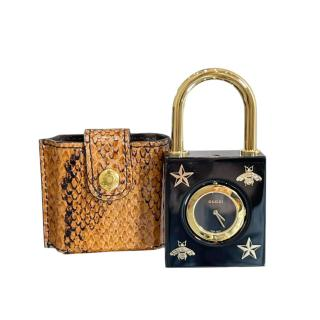 Gucci Black Constance Padlock Watch with Python Case